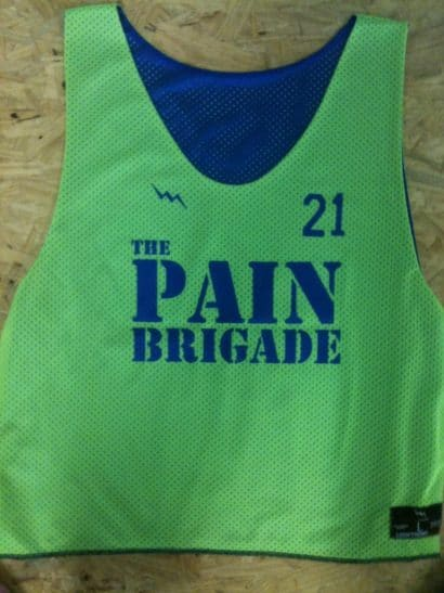 the pain brigade pinnies