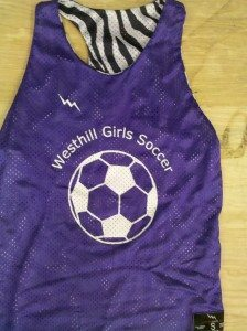 westhill girls soccer pinnies