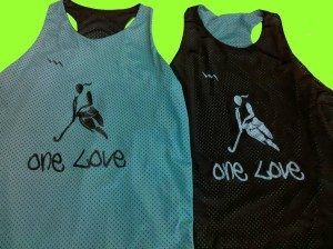 one love racerback pinnies