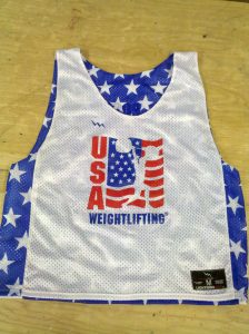 usa weightlifting pinnies