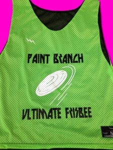 paint branch ultimate frisbee pinnies