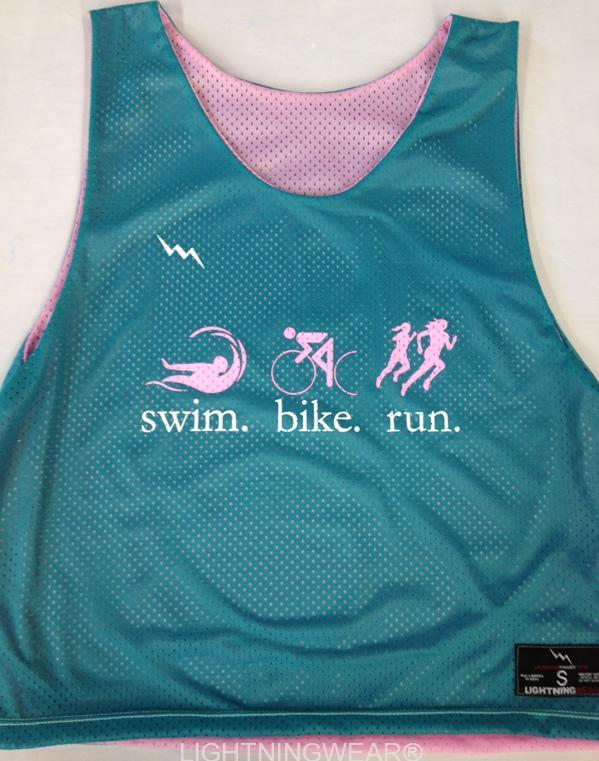 swim bike run pinnies
