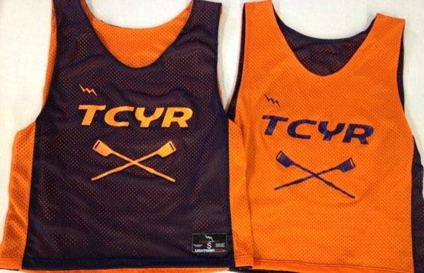 tcyr rowing pinnies - navy and orange pinnies