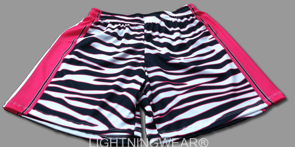 womens sublimated shorts - zebra lacrosse shorts
