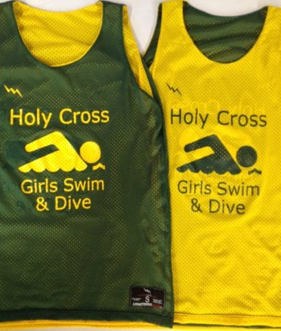 holy cross girls swim and dive pinnies