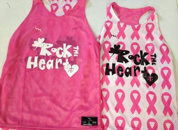 rock the heart racerback pinnies