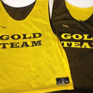 gold team pinnies