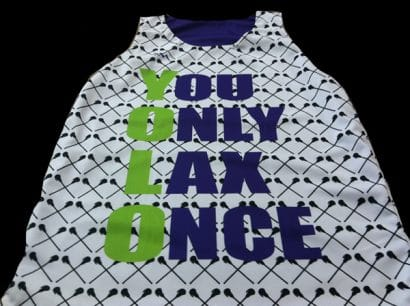 womens you only lax once pinnies