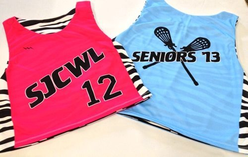 girls lacrosse pinnies with zebra