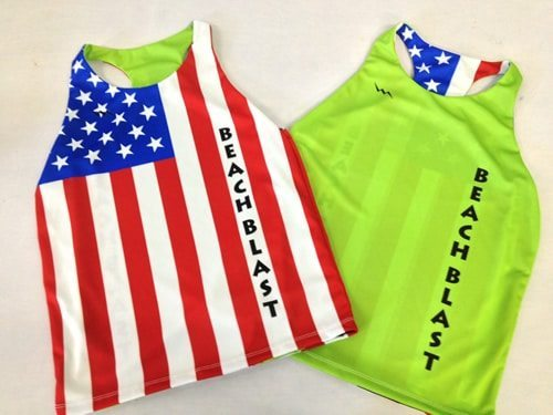 beach blast soccer pinnies american flag
