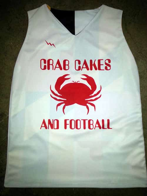 crabcakes and football pinnies - Maryland Flag Pinnies