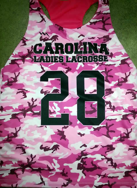girls sublimated camouflage lacrosse pinnies