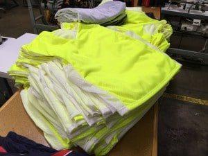 fluorescent yellow pinnies