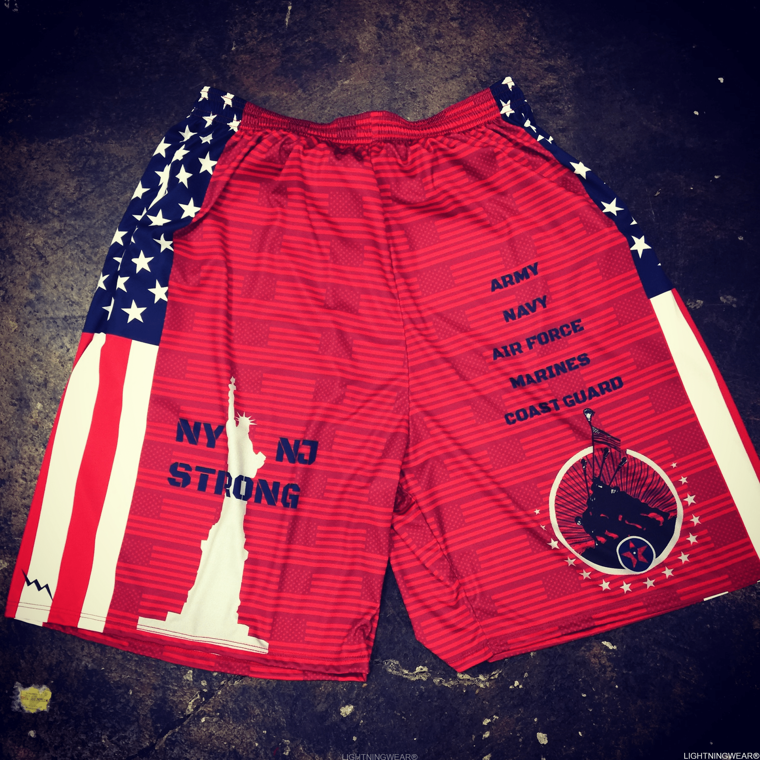 custom american flag lacrosse shorts
