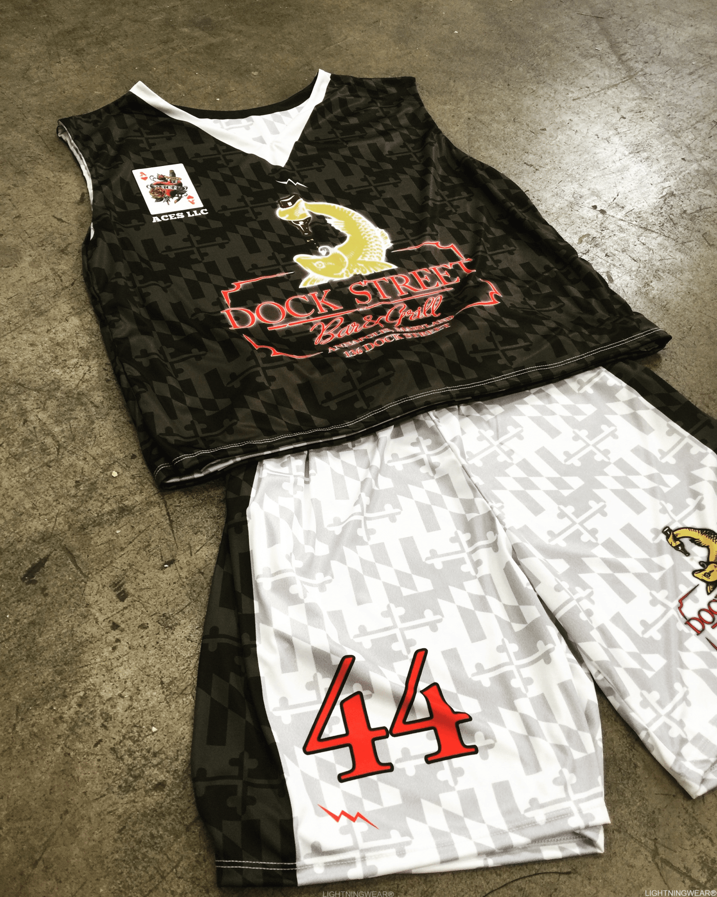 sublimated lacrosse shorts and pinnies