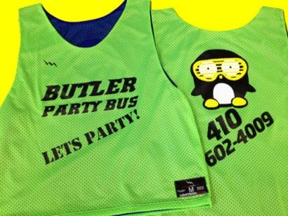 butler party bus pinnies - party pinnies