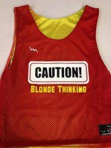Caution Blonde Thinking Pinnies