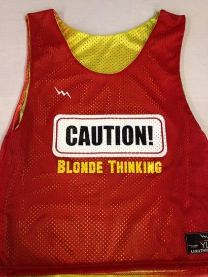 caution blond thinking pinnies