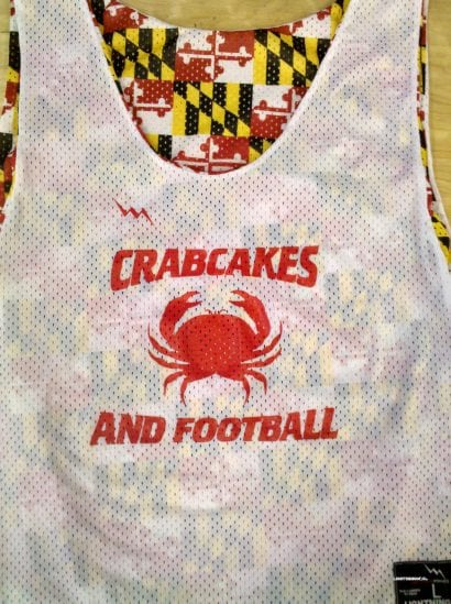 crabcakes and football pinnies