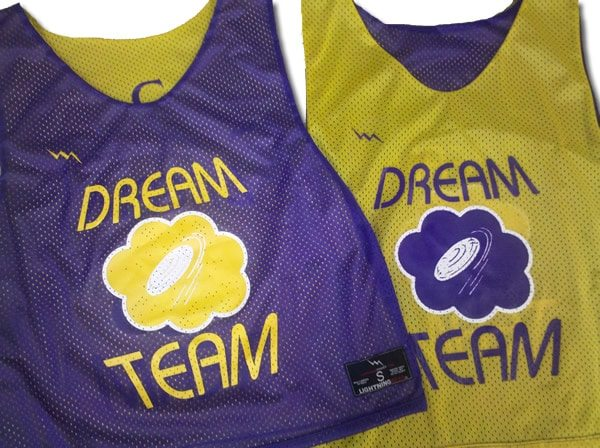 dream team ulitmate frisbee pinnies