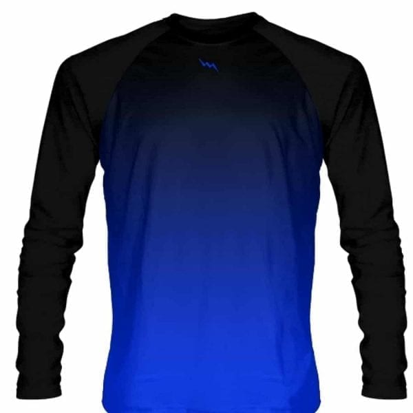 Black Blue Ombre Long Sleeve Shirts Basketball Long Sleeve Shooter