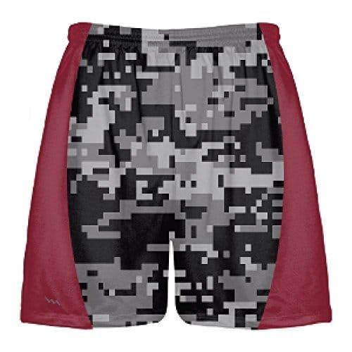 5c064e548ea Black Digital Camouflage Lacrosse Shorts - Maroon Side Panels ...