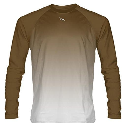 Brown-Long-Sleeve-Lacrosse-Shirts-Ombre-Athletic-Shooter-Shirts-Basketball-Shooting-Shirts-B078PWP782