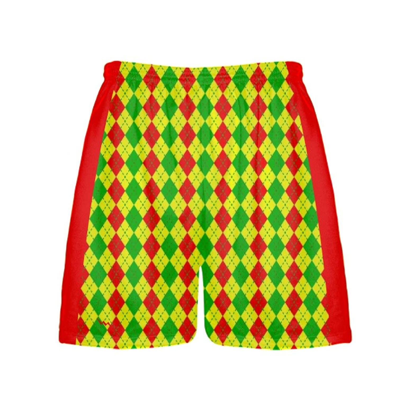 LightningWear-Argyle-Christmas-Shorts-Green-Red-Argyle-Lacrosse-Shorts-Athletic-Shorts-B077Y2S14Z