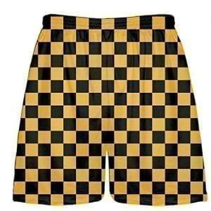 LightningWear-Black-Gold-Checker-Shorts-Sublimated-Checker-Board-Lacrosse-Short-B078NHGNSY