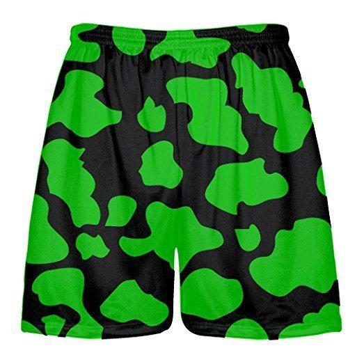 LightningWear-Black-Green-Cow-Print-Shorts-Cow-Shorts-B079BMNZ12