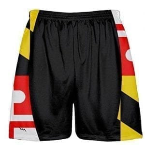 LightningWear Black Maryland Flag Lacrosse Shorts - Sublimated Maryland Flag Shorts