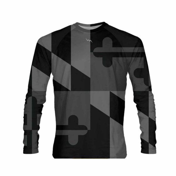 LightningWear-Black-Out-Maryland-Long-Sleeve-Shirt-Maryland-Flag-Long-Sleeved-Shirts-B078CZLVR4