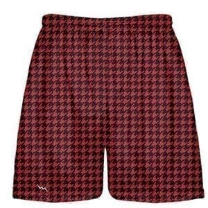 LightningWear-Black-Red-Houndstooth-Shorts-Lacrosse-Shorts-Athletic-Shorts-Sublimated-Shorts-B078NH9ZNW