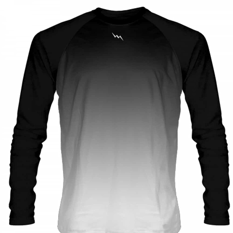 LightningWear Black White Fade Ombre Long Sleeve Shirts Basketball ...