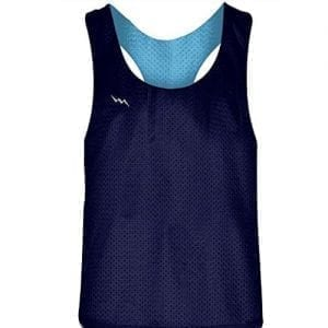 LightningWear Blank Womens Pinnies - Navy Blue Powder Blue Racerback Pinnies - Girls Pinnies