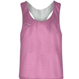 LightningWear Blank Womens Pinnies - Pink White Racerback Pinnies - Girls Pinnies
