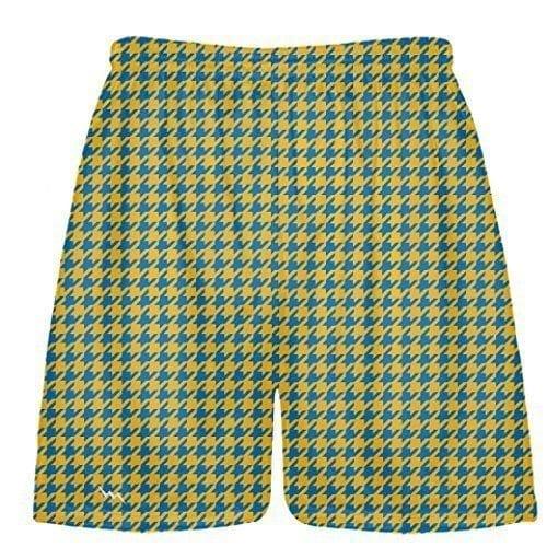LightningWear-Blue-Gold-Houndstooth-Shorts-Sublimated-Shorts-Childs-Lacrosse-Shorts-Men-Lacrosse-Shorts-Athletic-B078NFRXSN