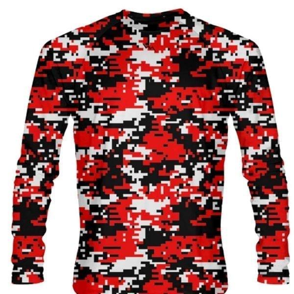 LightningWear Digital Camouflage Long Sleeve Shirts Red Black