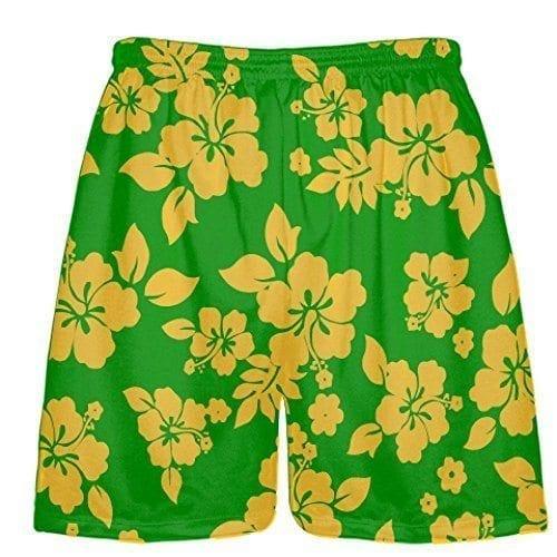 LightningWear-Green-Athletic-Gold-Hawaiian-Shorts-Accent-Hawaii-Shorts-B0797JGZXQ