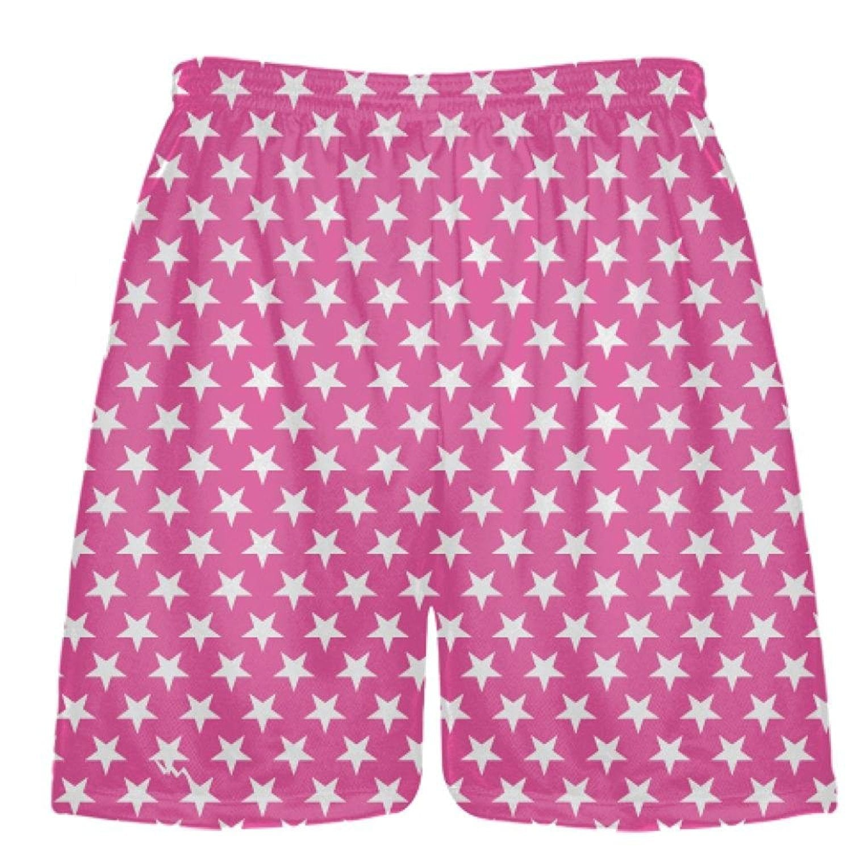 LightningWear-Hot-Pink-White-Stars-Shorts-Athletic-Shorts-Sublimated-Shorts-B078T715V6