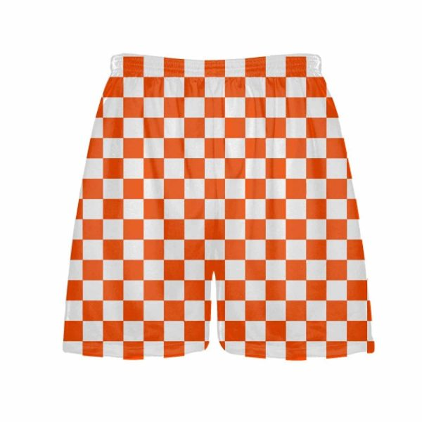 LightningWear-Orange-Checker-Board-Shorts-Orange-Checkerboard-Lacrosse-Shorts-Athletic-Shorts-B077Y3BMVH
