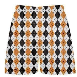 LightningWear Orange and Black Argyle Lacrosse Shorts