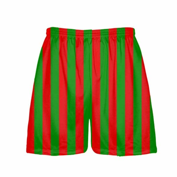 LightningWear-Red-Green-Stripe-Christmas-Shorts-Green-Red-Striped-Lacrosse-Shorts-Athletic-Shorts-B077Y2GBCW
