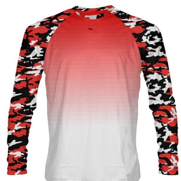 Red Long Sleeve Camouflage Shirts Custom