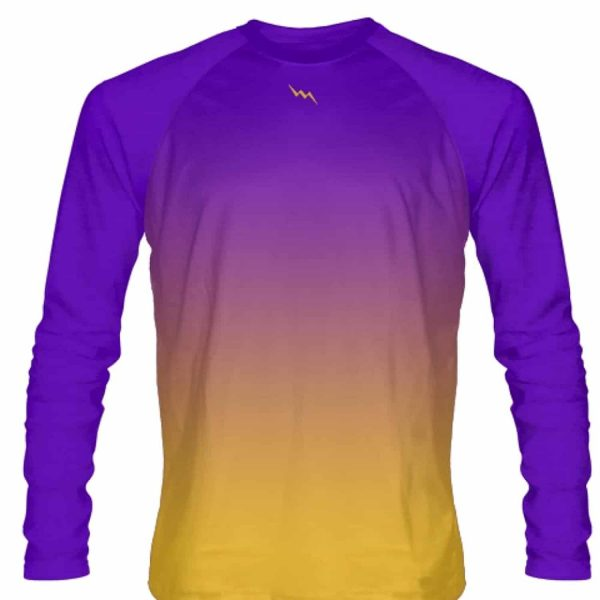 new product a09b1 851f2 Purple Gold Fade Ombre Long Sleeve Shirts - Custom Basketball Shirts
