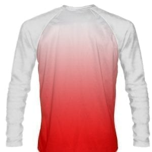White Red Fade Ombre Long Sleeve Shirts Basketball Long Sleeve Shirt - Adult & Youth White Red Basketball Shirts - White Red Fade Ombre Long Sleeve Shirts Basketball Shirts