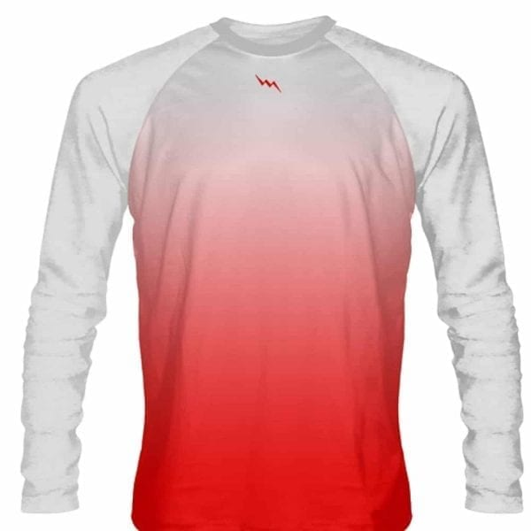 White Red Fade Ombre Long Sleeve Shirts Basketball Long Sleeve Shirt