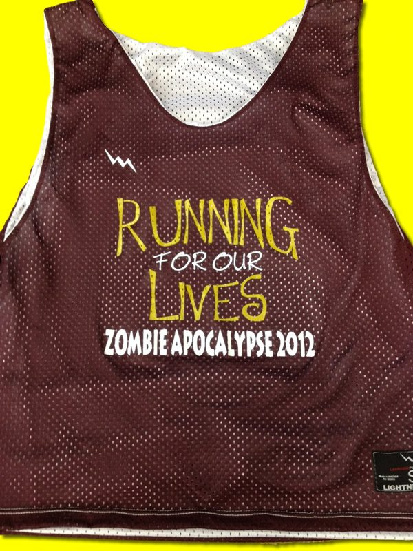 running for our lives pinnies
