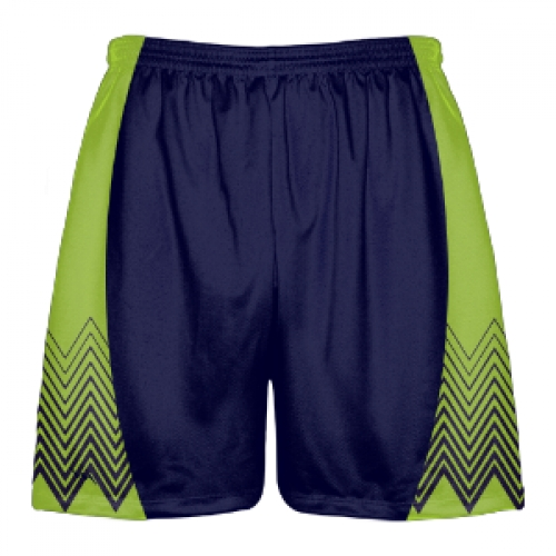 Navy+Green+Zig+Zag+Shorts