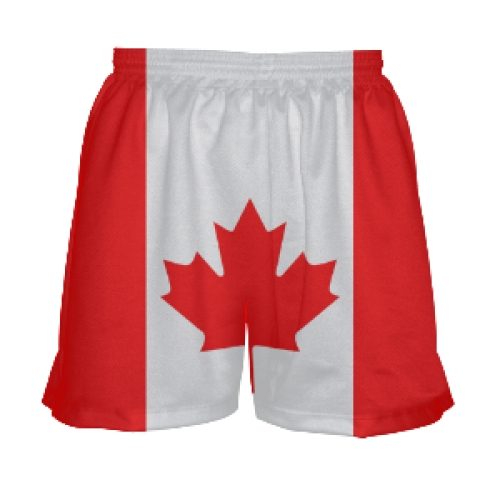 Canada+Flag+Lacrosse+Shorts+for+Girls